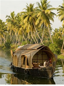 A house hotel boat on the backwaters in Kerala