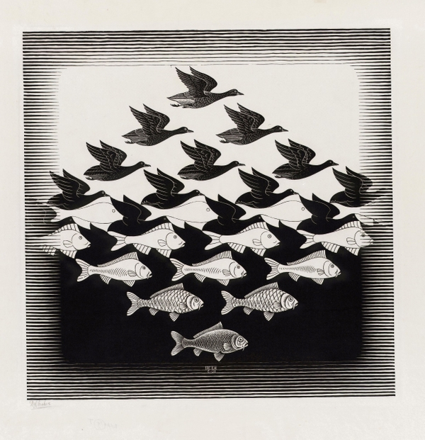 "Escher ""birds fish"""