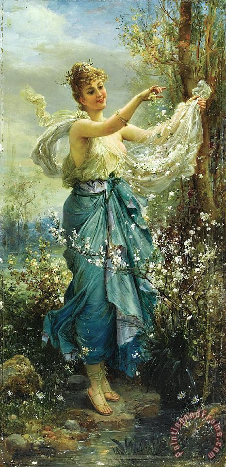 Girl with Flowers Painting by Hans Zatzka; Girl with Flowers Art Print for sale